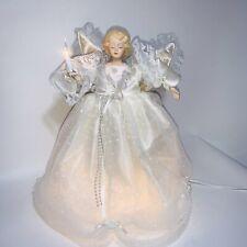 "Vintage Moving Lighted Christmas Tree Topper Lighted Angel 13"" White Dress"