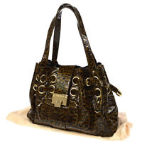 Authentic JIMMY CHOO Leopard Pattern Hand Bag Brown Patent Leather JT05300