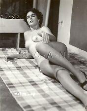 Original Vintage 40s-60s Nude RP- Endowed Woman- Suntan Lines- Stockings- Bed