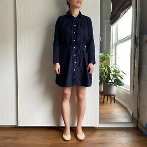 Muji Long sleeve shirt dress, NAVY BLUE