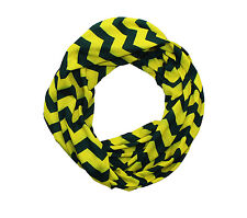 Dark Green & Yellow Chevron Infinity Scarf
