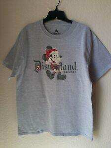 Disney Parks Unisex Gray Christmas Mickey Disneyland Resort T-shirt Size L