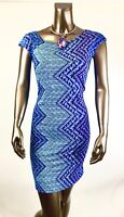 CHICO'S SIZE 3. (XL) *NEW BLUE GEO DOLMAN SLV SHIFT  DRESS