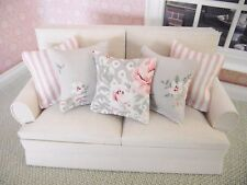 MINIATURE DOLL HOUSE FURNITURE SET OF 5 SOFA SCATTER CUSHIONS pinks and beiges