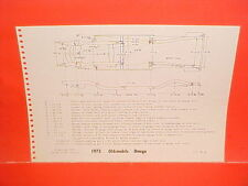 1973 PLYMOUTH SATELLITE ROAD RUNNER GTX OLDSMOBILE OMEGA FRAME DIMENSION CHART