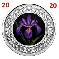 🇨🇦 Canada $3 Pure Silver Coloured Coin, Blue Iris - Quebec emblem, UNC 2020