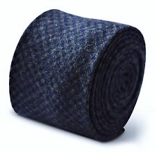 Frederick Thomas mens wool tweed tie in grey and navy blue square check FT3375