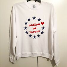 Zoe Karssen White/Blue/Red 'Nation Of Lovers' Long Sleeve Sweatshirt RRP: £155