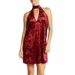 Whyte Eyelash Womens Wine Velvet High-Neck Cutout Choker Dress Sizes L $88