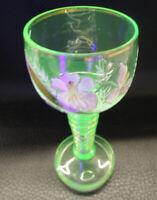 ANTIQUE BOHEMIAN MOSER ART GLASS HAND PAINTED FLOWERS VASELINE GOBLET