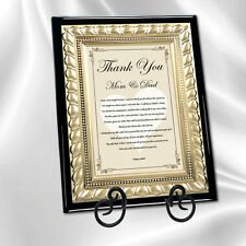Wedding Thank You Gift Parents from Bride Daughter Groom Son Gold Metal Plaque