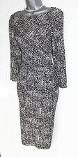 CC Debenhams Black Cream Long Sleeve Ruched Waist Casual Formal Dress UK 10  £99