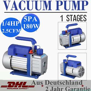 2.5CFM 1/4HP Rotary Vane Vacuum Pump Single Stage HVAC Air Conditioning A/C Deep