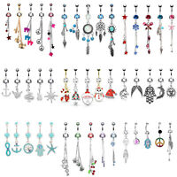 BodyJ4You 5PCS Belly Button Rings Set 14G Steel CZ Navel Body Piercing Jewelry