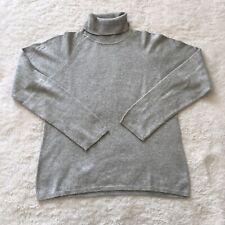 August Silk Knit Cashmere Silk Blend Grey Turtleneck Womens Sweater Size L