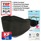 10~100 PCS KF94 BLACK Face Protective Mask Made in Korea KFDA Approved Adult