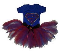 Super Girl Baby Grow Tutu Set FREE Headband Superman Bling Costume Comics