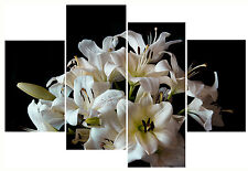 """White Lilys Flower Print Set 20"""" X 40""""+ Long 4 Panel Canvas Picture Wall Art"""