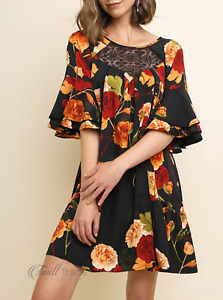 Umgee | Black Mix Floral Print Layered Bell Sleeve Keyhole Crochet Yoke Dress