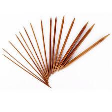 15 Sizes x 5 Sets 20cm Bamboo Handle Double Point Knitting Needles