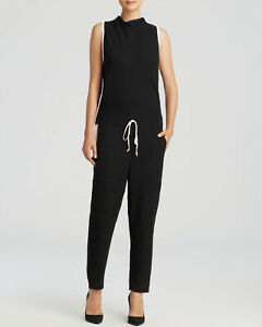 HELMUT LANG $304 BLACK WHITE TORSION JUMPSUIT SIZE 4