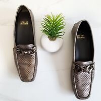 Stuart Weitzman Womens Silver Leather Driving Loafers Perforated Bow Shoes 8.5
