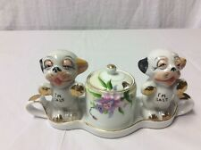 Vintage Noritake Azalea Pattern Partial Condiment Set with Tray & Mustard W/lid