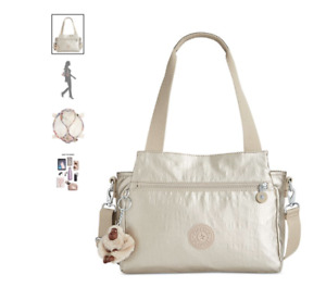 Kipling Elysia Metallic Handbag Metallic Pewter Coated crinkle nylon