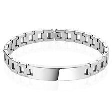 """Mens Tungsten Carbide Bracelet Hollow Square Chains with ID Plate Length: 8.27"""""""