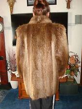 SZ M -L XL?   MANITOBA CANADA BEAVER FUR COAT LONG HAIR SAND BLONDE & LT BROWN
