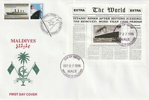 MALDIVES 27 SEPT 1998 RMS TITANIC MINIATURE SHEET VLE FIRST DAY COVER