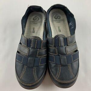 Clarks CloudSteppers Sillian Stork Women US 7.5 M Navy Blue Sandal Flats