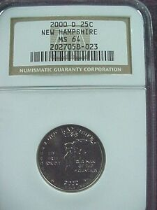 2000 D NEW HAMPSHIRE STATE QUARTER NGC  MS 64