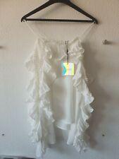 Missguided Womens Ladies White Ruffle Blouse Top Size Medium UK BRAND NEW
