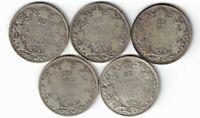 5 X CANADA TWENTY FIVE CENTS QUARTERS KING GEORGE V 800 SILVER COINS 1920 - 1929