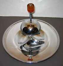 Art Deco Farberware Chrome Tier Snack Tidbit Serving Dish Tray Bakelite (?) Knob