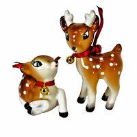 Set/2 Reindeer Christmas Tree Holiday Ornament 50s 60s Retro Vintage Style Decor