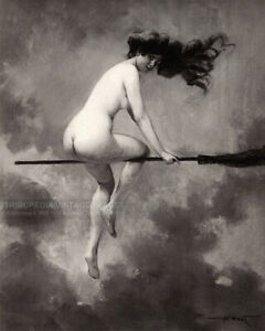 1910 Witch Riding Broomstick - Vintage Nude Woman Fine Art Print - Albert Pénot