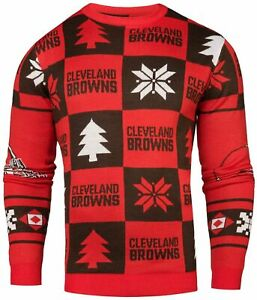 Klew Cleveland Browns NFL Men's 2016 Patches Ugly Sweater, Orange/Brown