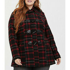 Torrid Women's Coat Red Plaid Hooded Toggle Plus Size 3X