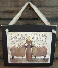 Proverbs 31:13 Woman Hanging Sign Plaque Country Primitive Rustic Lodge Cabin