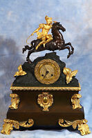 French Empire Figural Horseman Bronze Dore Ormolu Gilded Clock Early 19th Cent