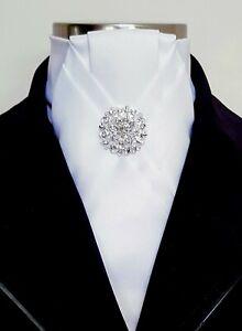 ERA  Sharon  White Satin Stock Tie Pleated with Elegant Pleat & Silver Brooch
