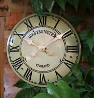 Garden Wall Station Clock Outdoor indoor Beige Hand Painted church clock 30cm