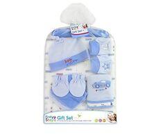 Blue Baby Gift Set Wash Clothes Bibs Booties Cap Hanger Mittens Blanket for 0m+