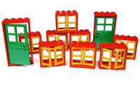 LEGO windows and doors for house (pack of 10) 2x4x3 red yellow green BRAND NEW