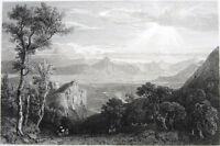 Greece, BATTLE OF CHAERONEA PLAIN MACEDONIA WARS ~ 1829 Art Print Engraving RARE