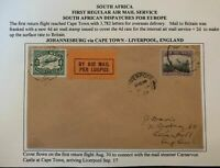 1929 Johannesburg South Africa First Regular Airmail Cover To Liverpool England