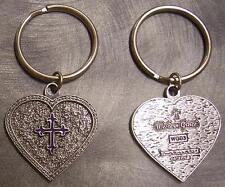 Pewter Key Ring Western Grace Heart Purple Cross NEW