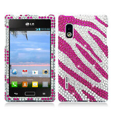 LG Optimus Extreme L40G Crystal Diamond BLING Hard Case Cover Silver Pink Zebra